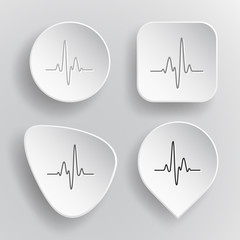 Cardiogram. White flat vector buttons on gray background.