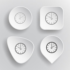 Clock. White flat vector buttons on gray background.