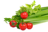 Celery and cherry tomatoes isolated on a white background