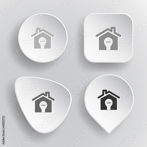 Light in home. White flat vector buttons on gray background.
