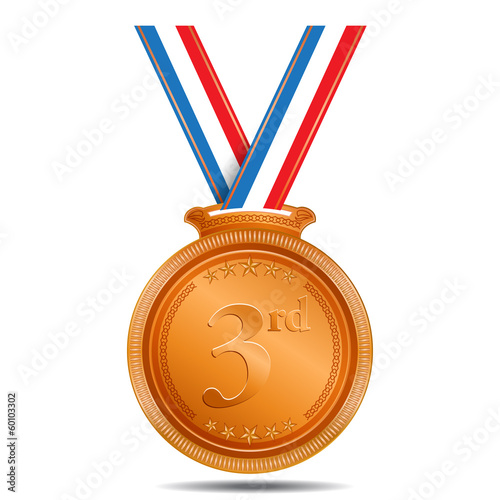 Bronze Medal 3rd Position Vector Icon