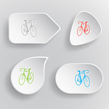Bicycle. White flat vector buttons on gray background.