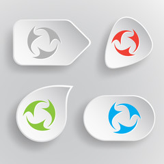 Abstract recycle symbol. White flat vector buttons on gray backg