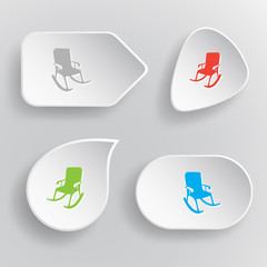 Armchair. White flat vector buttons on gray background.