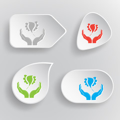 bird in hands. White flat vector buttons on gray background.