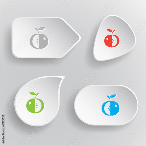 Apple. White flat vector buttons on gray background.