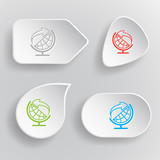 Globe and arrow. White flat vector buttons on gray background.
