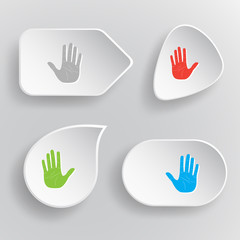 Stop hand. White flat vector buttons on gray background.