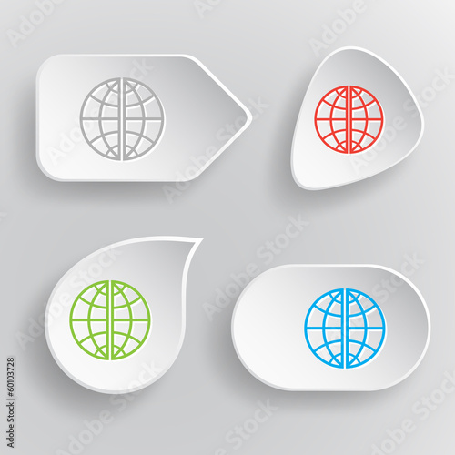Globe. White flat vector buttons on gray background.