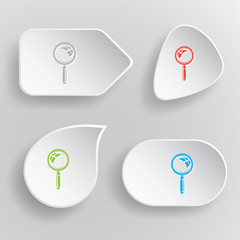Magnifying glass. White flat vector buttons on gray background.