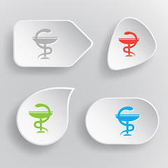 Pharma symbol. White flat vector buttons on gray background.