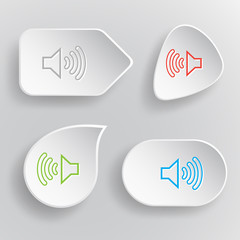 Loudspeaker. White flat vector buttons on gray background.