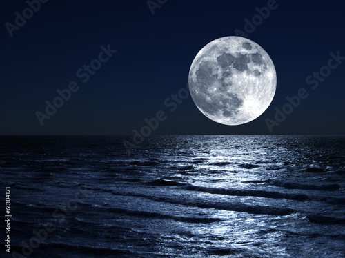 moon over sea - 60104171
