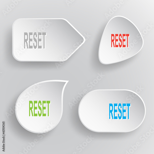 Reset. White flat vector buttons on gray background.
