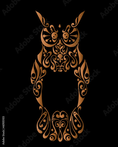 Tribal owl with decorative ornament isolated on black background