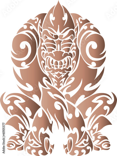 Tattoo with gorilla tribal. Color vector illustration.