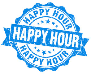 Happy hour blue grunge retro style isolated seal