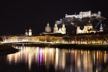 View of the old city of Salzburg, Austria, by night
