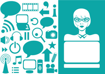 girl behind laptop on blue background with internet icons