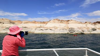 photographe sur le lac powell, Arizona-Utah