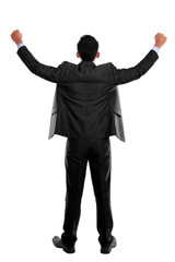 business man with arms raised in success - Isolated on white