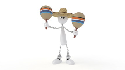 The 3D character plays on a maracas.