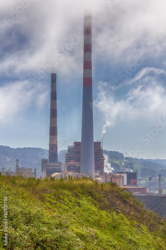 large chimneys in a factory