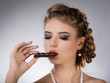 Portrait of young  brunette girl eat chocolate