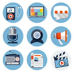 Media Flat Icons for Web and Mobile Applications
