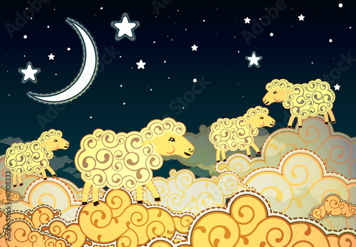 Cartoon style sheep walking on clouds at night