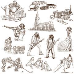 Traveling: SCANDINAVIA set no. 2 - hand drawings on white