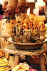 Sweet baked pearsat medieval market in Provins