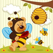 teddy bear dressed as a bee - vector illustration