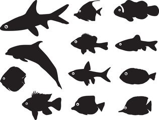Fish silhouettes illustrated on white