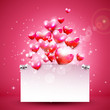Valentine's Day pink background with hearts and empty paper