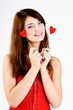 happy  teen girl with hearts