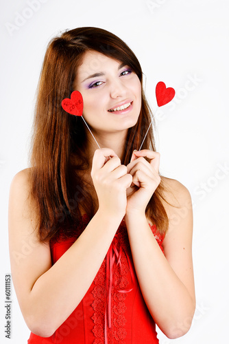 happy  teen girl with hearts