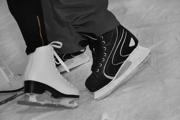 Ice skating on ice rink