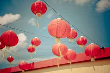 Red Chinese Paper Lanterns against a Blue Sky © dvoevnore