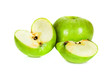 sliced green apples isolated on the white