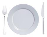 Fototapety Dinner plate, knife and fork. Vector illustration
