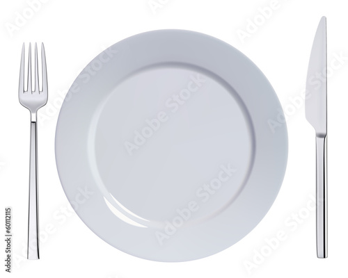 Dinner plate, knife and fork. Vector illustration