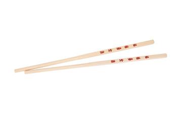 Chopsticks with the Chinese/Japanese symbols, isolated on white