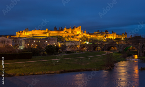 Carcassonne fortress illuminated at evening - France, Languedoc-