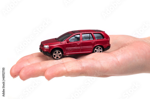 Red car in hand