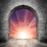 Way to heaven. Resurrection concept, empty grave.