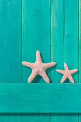 Two white starfish against a turquoise colored wood background