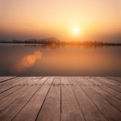 The view of lake with sunset
