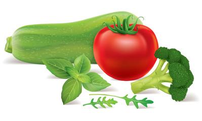 Zucchini, tomato, broccoli, arugula, basil