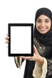 Arab woman showing a tablet display application isolated